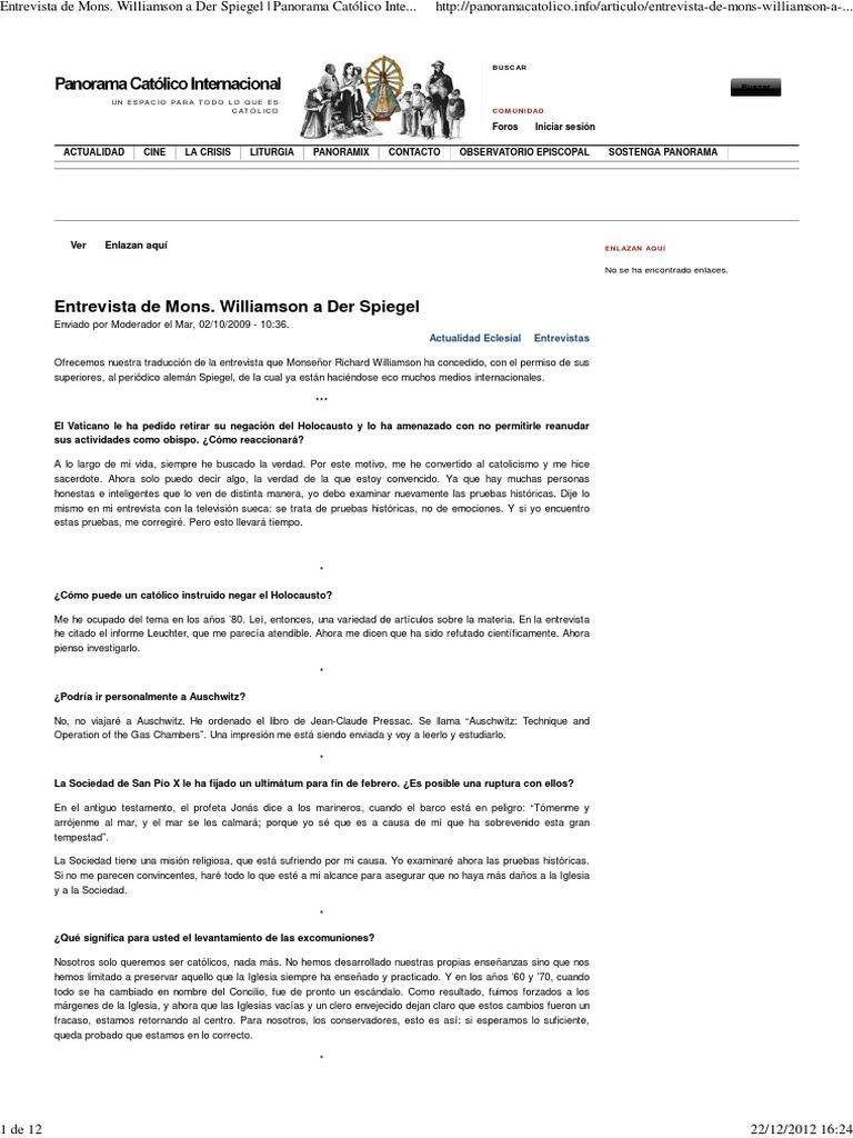 Entrevista de Mons. Williamson a Der Spiegel _ Panorama Católico ...