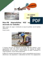Sine-PB Disponibiliza 402 Vagas Para o Mercado de Trabalho