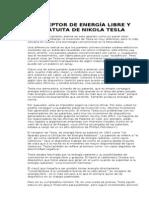 RECEPTOR DE ENERGÍA LIBRE Y GRATUITA DE NIKOLA TESLA
