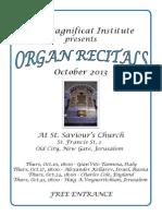 Brochure Depliant Gerusalemme Jerusalem 2013 Organ Concert