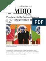 24-11-2013 Diario Matutino Cambio de Puebla - Fundamental la vinculación entre el PAN y sus gobiernos, Moreno Valle