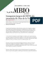 25-11-2013 Diario Matutino Cambio de Puebla - Inauguran juegos del SNTE sin presencia de Díaz de la Torre