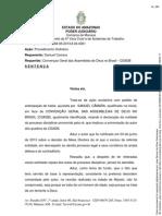 Sentença de mérito que reintegrou o Pr Samuel Câmara à CGADB