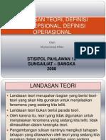 Landasan Teori, Definisi Konsepsional, Definisi Operasional