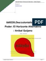 Quijano - La Des Colonialidad Del Poder. El Horizonte Alternativo