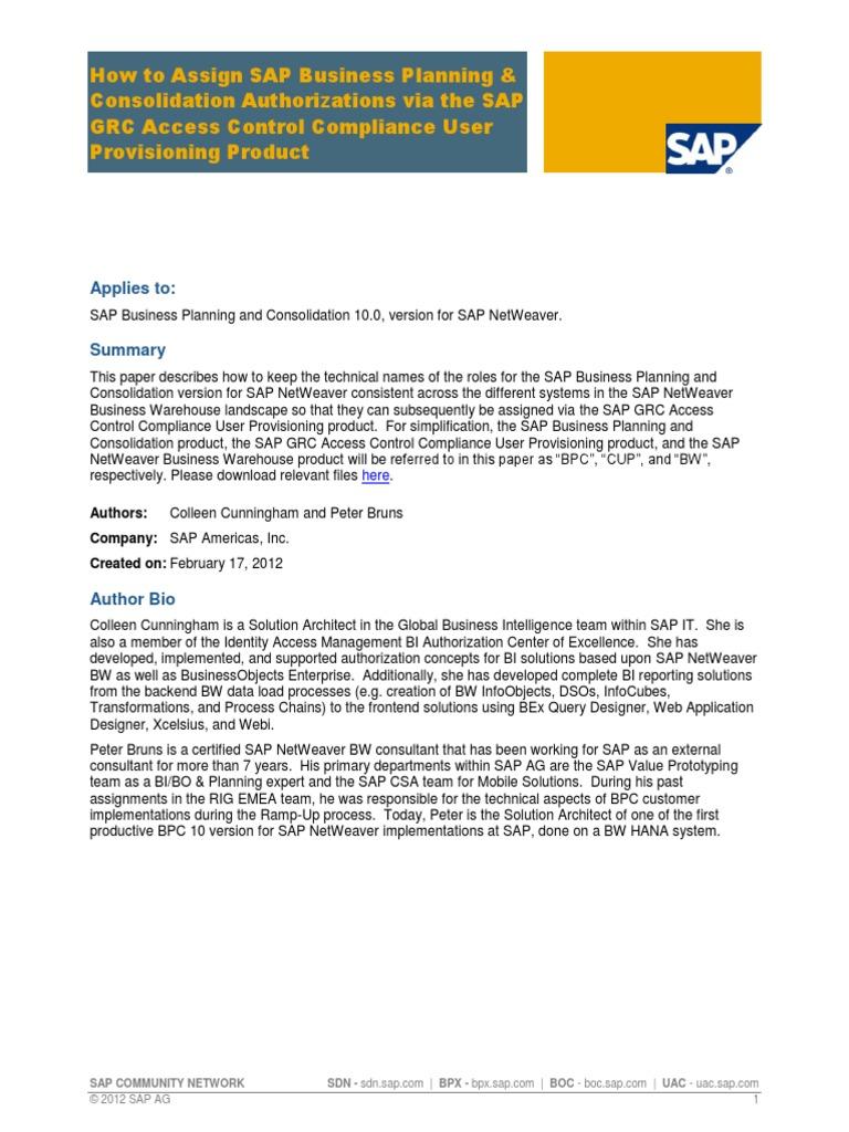 SAP BPC Authorizations via the SAP GRC   Business Intelligence ...