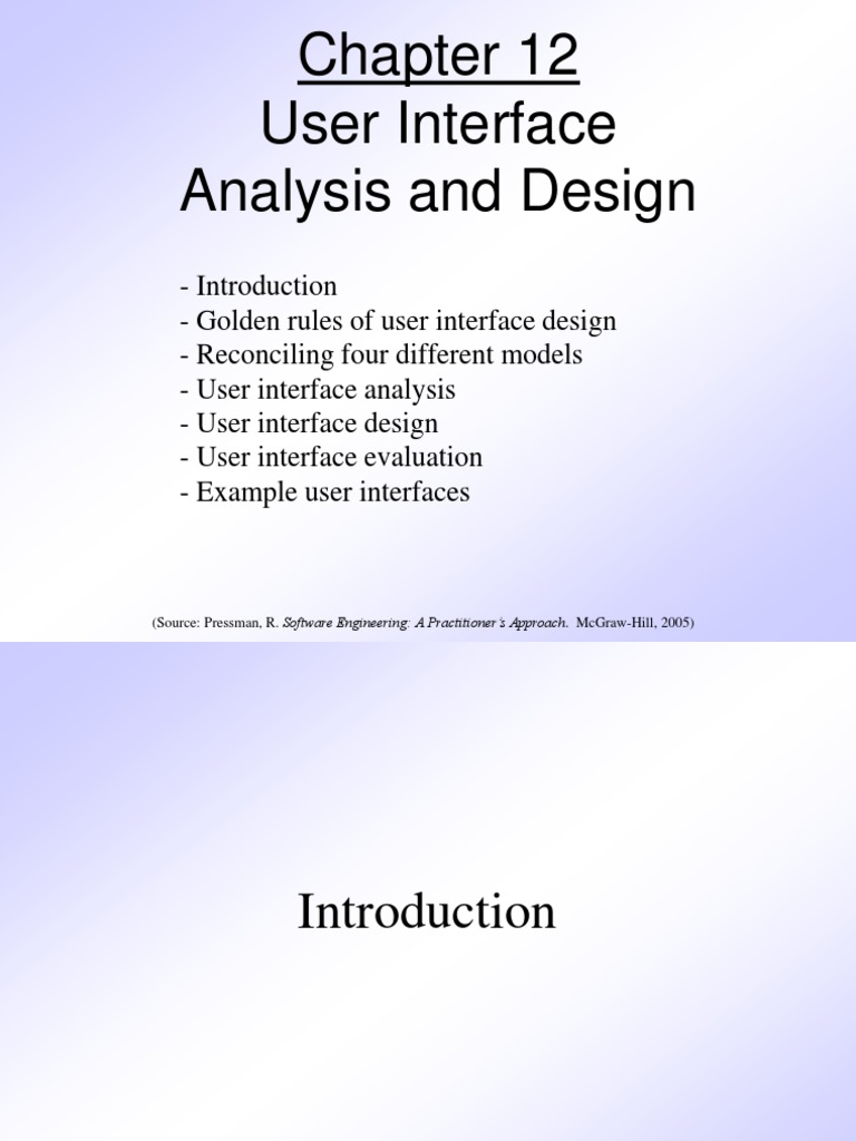 Pressman Ch 12 User Interface Design Graphical User Interfaces Usability