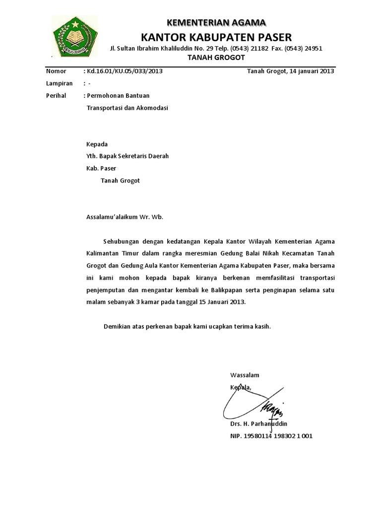 Surat Permohonan Bantuan Trasportasi