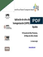 Aplicación UHPH en alimentos líquidos