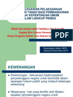 Pendelegasian Pelaksanaan Pengadaan Tanah Bagi Pembangunan Untuk Kepentingan Umum Dalam Lingkup Pemda