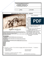 AVALIAÇÃO DE LÍNGUA PORTUGUESA - DENGUE