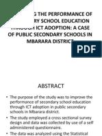 Performance of Secondary School Education