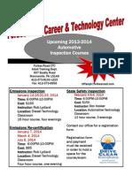 Automotive Inspection Courses Flyer 2013-2014