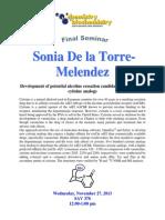 Final Seminar for Sonia De La Torre-Melendez