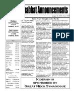 Shabbat Announcements, August 22, 2009