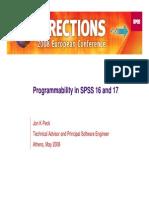 Programmability in SPSS 16 & 17, Jon Peck