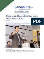 25-11-2013 e-consulta.com - Llega Mario Rincón González como titular de la SDRSOT