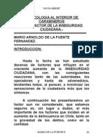 PSICOLOGIA , al interior de Carabineros de Chile como factor de inseguridad ciudadana