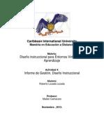 Informe de Gestión, Diseño Instruccional