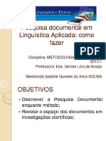 Pesquisa documental em Linguística Aplicada