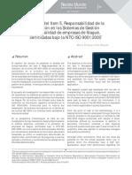 Análisis del ítem 5. Responsabilidad de la dirección en los sistemas de gestión de la calidad de empresas de Ibagué certificadas