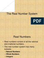 Real Number System and Set Notation