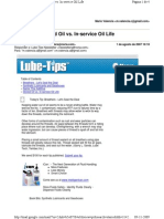 Lube-Tips - Stored Oil vs. in-Service Oil Life