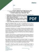 210131126 NP TELEFÓNICA PREMIA A ASOCIACIÓN DE TEJEDORAS CON PREMIO CONECTARSE PARA CRECER