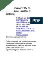 Experiencia Con PRV en Puerto Quito