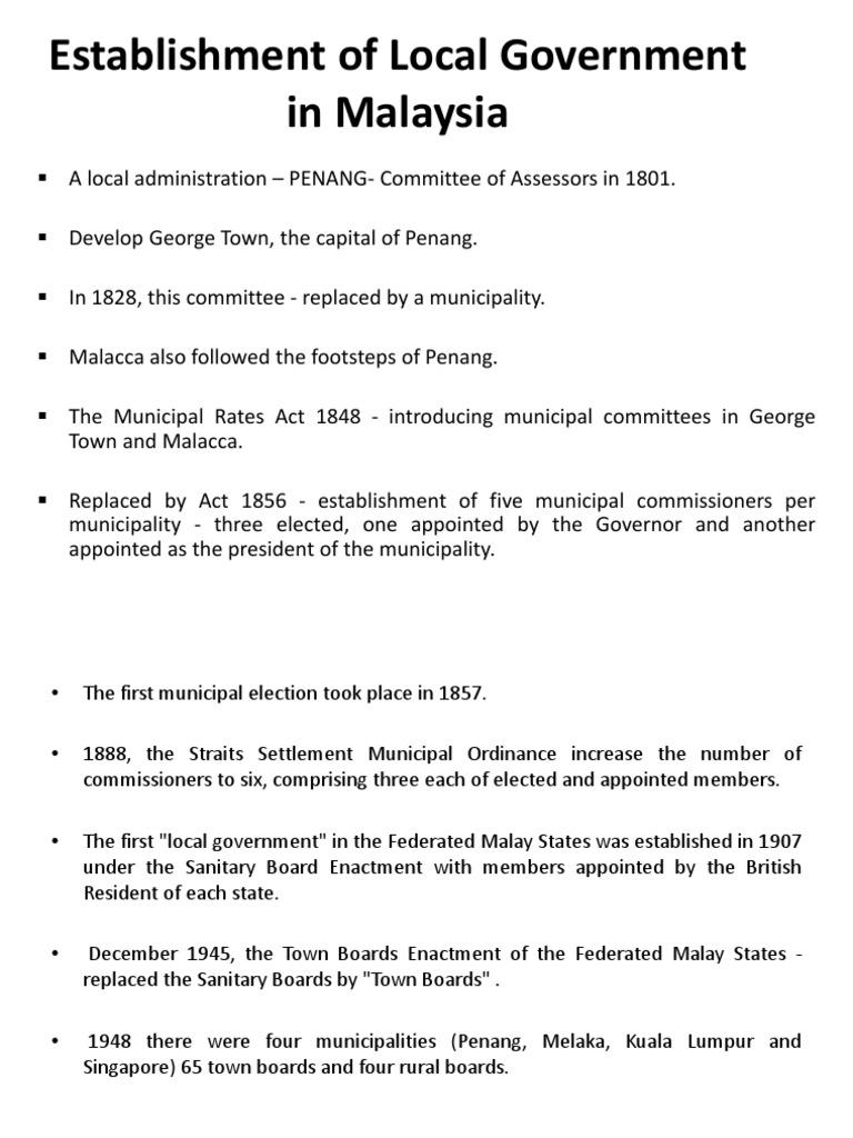 Establishment Of Local Government In Malaysia Local Government Malaysia Free 30 Day Trial Scribd