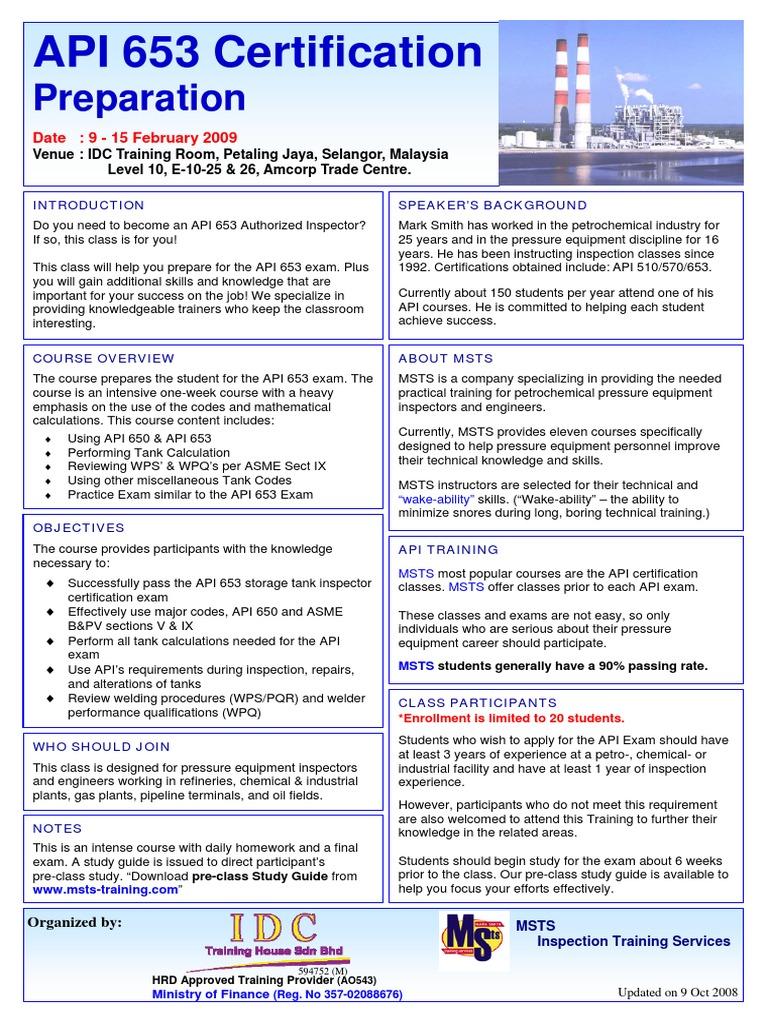 API 653 MSTS Preeparation Feb09 | Test (Assessment
