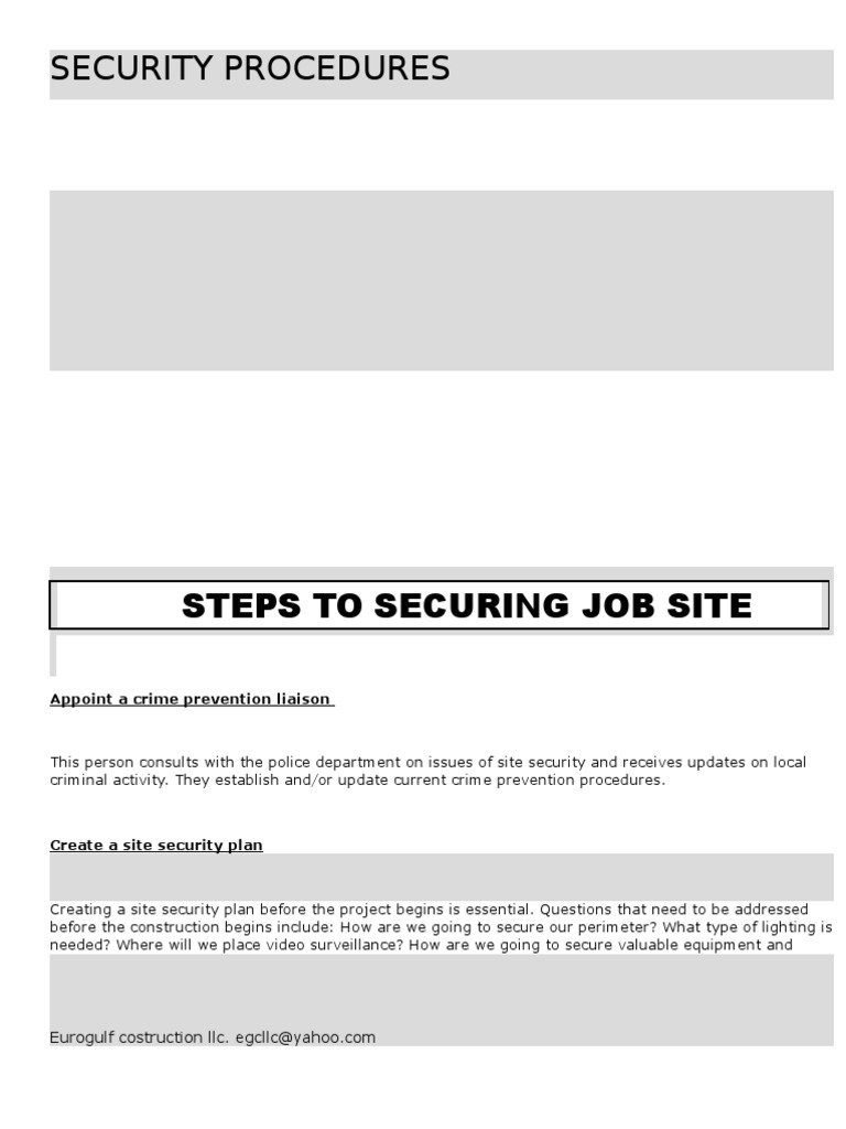 Basic Security Procedure for a Construction Site – Site Security Plan For Construction Project
