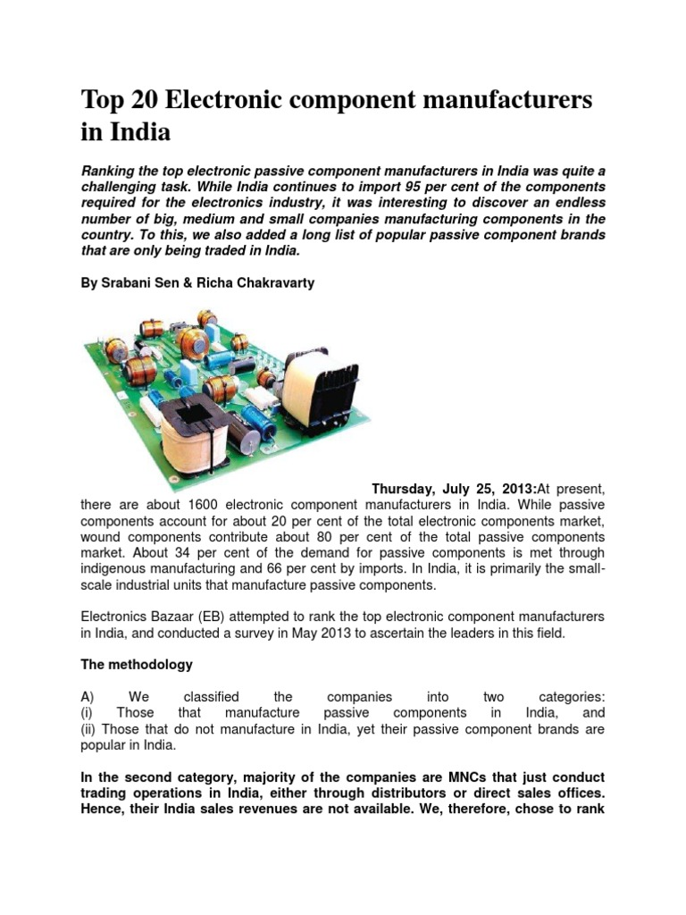 Top 20 Electronic component manufacturers in India docx