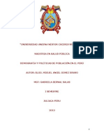 Demografia y Politicas de Poblacion en El Peru