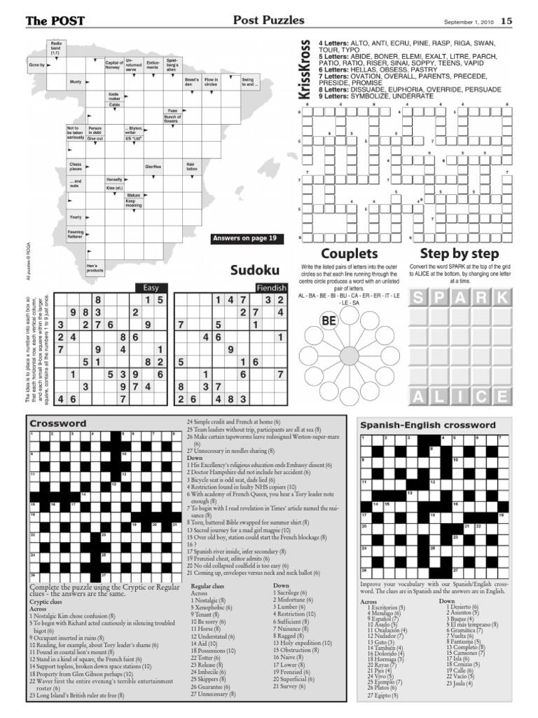spanish english crossword crossword puzzles