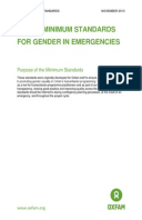 Oxfam Minimum Standards for Gender in Emergencies
