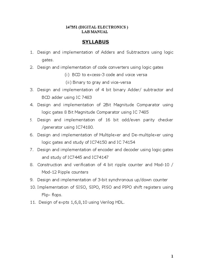 Digital Lab Manual Electronic Circuits Arithmetic Electric Adder Subtractor Truth Table 4 Bit Binary Part 1