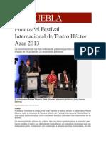 26-11-2013 Milenio.com - Finaliza el Festival Internacional de Teatro Héctor Azar 2013