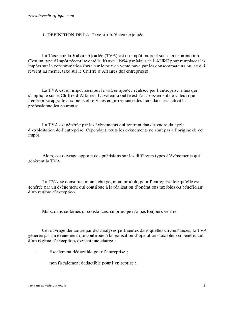 Taxe Sur La Valeur Ajoutee 3 Pdf