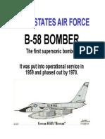 B 58 Supersonic Bomber