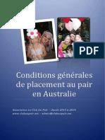 Conditions Generales de Placement Au Pair en Australie 2013-2014