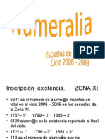 ZONA XI 2008-2009 Numeralia