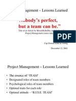 Project Management Lessons Learned - R.I.S.E. TEAM