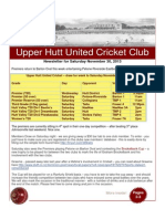 UHUCC Cricket Newsletter 30 Nov, 2013