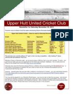 UHUCC Cricket Newsletter 30 Nov, 2013