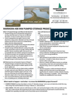 Marmora Pumped Storage Info Sheet June 8 2011