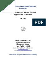 Jamiya Hamdard Short Prospectus 2013