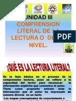 UNIDAD III. COMPRENSIÓN LITERAL DE LA LECTURA.pptx