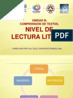 UNIDAD III. Nivel de lectura Literal.pptx