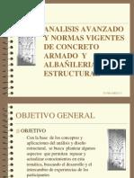 analisis avanzado y normas vigenres de concreto armado y albañilería estructural